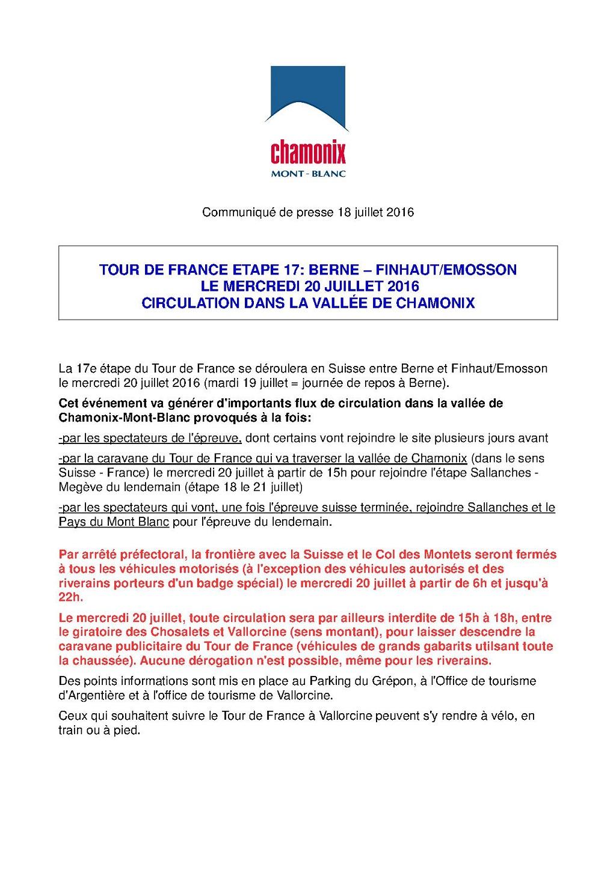Circulation dans la vall e de chamonix a l 39 occasion de la 17e etape du tour de france le - Chamonix office de tourisme ...